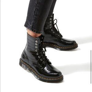 NEW Dr Martens 1460 Black Faux-Croc Patent Boots